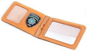 Обложка для удостоверения работников МВД горизонтальная с пластиковым шевроном арт.5108